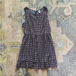 One Clothing Blue Patterned Ruffle Dress L